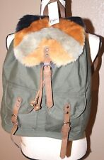 Women's Candies OLIVE Back Pack Style Purse BackPack Tote Bag FUR & POCKETS NWT