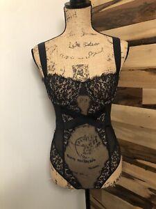 VICTORIA'S SECRET VINTAGE Women's NYLON ELASTANE Lace Lingerie Bodysuit SIZE 34B