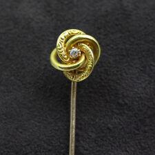 Antique Love Knot  14k Yellow Gold & Diamond Stick Pin