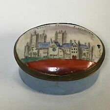 """18th C. English Battersea Bilston Enamel Patch Box """"Trifle From Lincoln"""""""