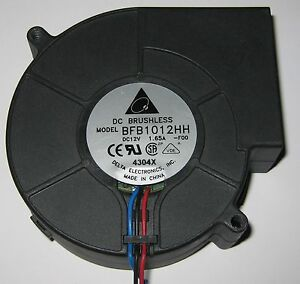"""Powerful Delta Blower Fan - 12 V - 97 x 94 mm - 4000 RPM - 1.56"""" H2O - BFB1012HH"""