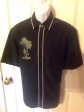 Hobie Hurley Hawaiian Camp Shirt Mens Medium Palm Trees Black Tan Resort Casual