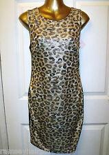 NEW BLACK & BEIGE LEOPARD BODY CON BANDEAU DRESS SIZE M 12/14 # 235
