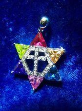 Jewish Messianic Star of David w/ Gemstones & Cross