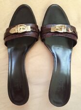 GUCCI GUCCISIMA LEATHER SANDALS WITH GOLD DETAIL SIZE 8 1/2