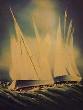 Pintura al óleo abstracta Vela barcos grandes Lona Azul Océano Mar olas Paisaje