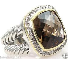 Mint Condition! David Yurman Lt. Brown Smoky Quartz 14mm Ring in DY Box $2450