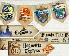 8 Flags Harry Potter Hogwarts Wizards Party Bunting & 4 Decoration Arrow Signs