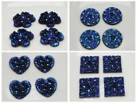 100 Deep Blue Floral Acrylic Flatback Cabochons 11mm Craft DIY Various Shape