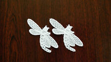 2 x Iron on / Sew on,White Guipure Lace,Applique,Dragonfly Motifs - 7cm x 3cm