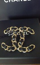 AUTH. NWT 17B CHANEL CC LOGO LARGE PIN BROOCH  BLACK  LEATHER WITH MATTE GOLD