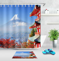 Japan Snow Mountain Tower Waterproof Fabric Shower Curtain Hook Bathroom Mat Set
