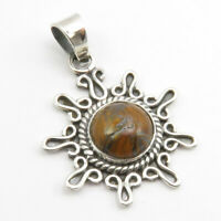 """Sterling Silver Tiger's Eye Pendant for Necklace 1.7"""" Ladies Gems Jewelry"""