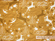 Sparkle Gold Reindeer w/ Metallic Christmas Fabric by the 1/2 Yard  #42377M-2