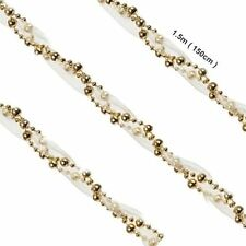 Luxury Bead Chain With Ribbon Gold Christmas Tree Decor Xmas Hanging Ornament