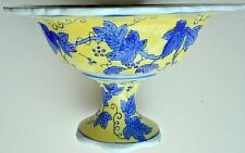 "bowl yellow ceramic pedastel blue grape leaves/vines footed centerpiece 7"" x 11"""