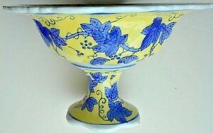 """bowl yellow ceramic pedestal blue grape leaves/vines footed centerpiece 7"""" x 11"""""""