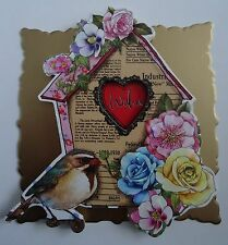 1 x Bird House Square Topper with Flowers for card making and Scrapbooking