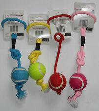 3 x Rope 'N' Ball Tug / Pull / Throw / Tug / Tennis Ball on Rope Dog Toy