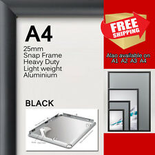 A4 PREMIUM Snap in poster frame Sign holder wall mount 25MM aluminum black sq