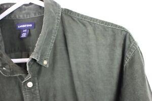 "Vtg Mens Hipster CORDUROY Indie Hipster Shirt Olive COTTON Overshirt p2p 27"" XL"