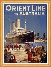 Orient Line to Australia Dampfschifffahrt Hafen Kamele Australien Plakate A2 302