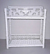 White Wicker Shabby Chic Primitive 2 Tier  Wall Hanging / Stand Shelf