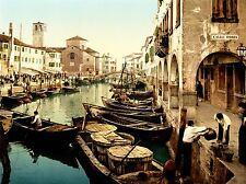 VINTAGE PHOTOGRAPHY CITYSCAPE VENICE ITALY CHIOGGIA FISH MARKET POSTER LV4887
