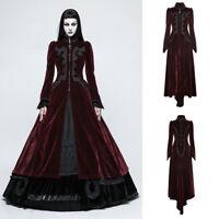 Punk Rave Y-776 Women Red Burgundy Goth Victorian Elegant Velvet Long Coat
