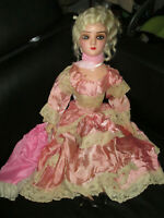 Antique French Boudoir Bed Doll Composition & Cloth Body with Silk Dress France