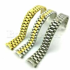 20mm Watch Band Strap Sports Bracelet Two Tone Solid Curved End Link Steel