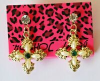 Betsey Johnson Crystal Rhinestone Enamel Cross Post Earrings
