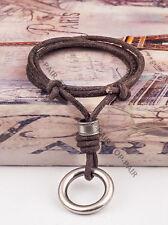 N02 1-Metal-Ring Adjustable Surfer Beach Leather Choker Necklace Vintage BROWN