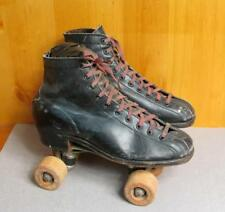 Vintage 1940s Chicago Black Leather Rollerskates Double Toe Front Sz.6 Hyde