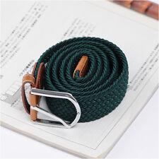 Men's Casual Fashion Belt Faux Leather Stretch Elastic Belts Unique Green Color