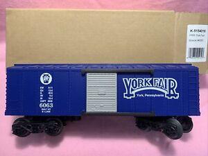 "K-Line K-5154016 Pennsylvania ""York Fair"" (Blue) 0-27 Boxcar BNIB"