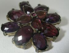 Modern Purple Flower Brooch Ant.Gold-Tone Metal Multi-Layer 1.5 inches round