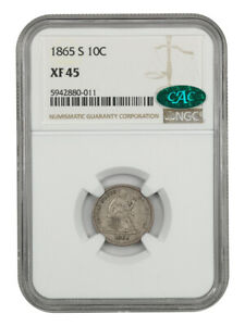 1865-S 10c NGC/CAC XF45 - Scarce S-Mint - Liberty Seated Dime - Scarce S-Mint