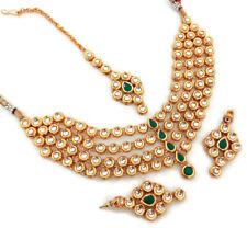 5495e3152ced Indian moda joyería collar conjunto Kundan Oro Plateado Verde De Bollywood  nupcial