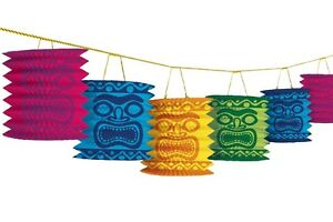 12ft Tiki Paper Lanterns Garland Hawaiian Tropical Luau Beach Party Decorations