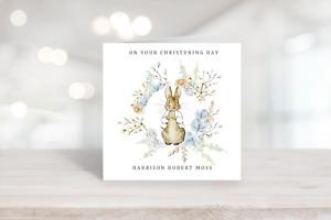 PERSONALISED PETER RABBIT CHRISTENING - BIRTHDAY - BABY SHOWER CARD