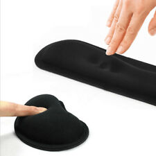 Memory Foam Mouse Pad Mat Keyboard Wrist Rest Support Cushion Set Laptop Black