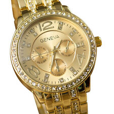 Women's Geneva Crystal Stainless Steel Wrist Watch Quartz New Luxury Fashion