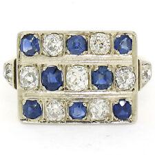 Antique Art Deco 14K TT Gold Old Mine Diamond Sapphire Checkerboard Platter Ring