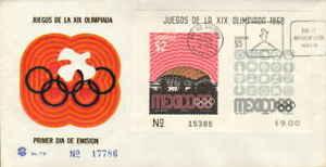 Mexico Scott 1000a 2P Dome Stadium and 5P Logos Olympics Souvenir Sheet 1968 Ill