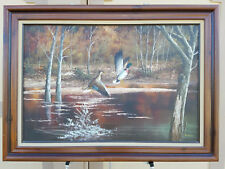 P. CITRIN SIGNED OIL PAINTING DUCKS FLYING AT LAKE