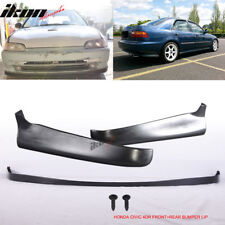 Fits 92-95 Honda Civic 4Dr Sedan SIR Style Front + Rear Bumper Lip