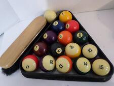 8-ball Pool Billiards BAKELITE BALLS complete SET w/Cue Ball Rack Brush Vintage