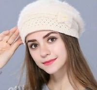 Winter Beret Hat for Women's Knitted Rabbit Fur Bennie Solid Four Color Cap Gift