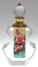 Pink Rose Decorative Perfume Bottle, Hand-Painted Crystal Art Glass Collectible